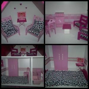 Casita Alpina Barbie MDF 9mm con Luz Led,Muebles y