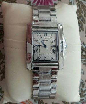 Reloj unisex rectangular acero inoxidable marca