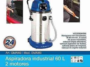 Aspiradora industrial gamma 60 lt 2 motores asero inox.
