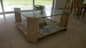 Mesa ratona mármol y vidrio $7000