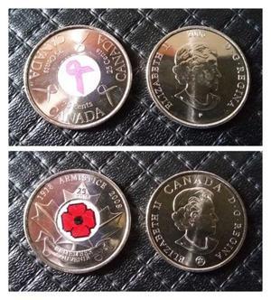 Monedas canadá conmemorativas esmaltadas $80 c/u