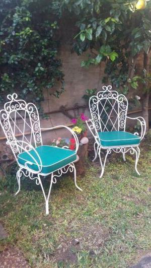 Sillones de hierro para jardin antiguos el par