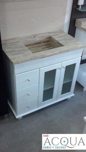 Vanitory de 80 cm laqueado- 3 cajones mesada marmol traverti