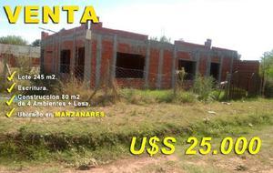 Terreno (245 m2) con construcción (80 m2) en manzanares!