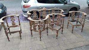Juego de sillones en nogal tallado con sillon tu y yo #1740