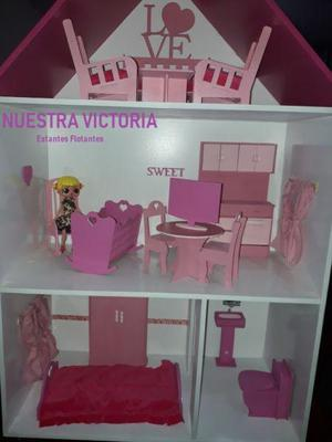 Casa de muñecas barbie con muebles super reforzadas mdf 9mm