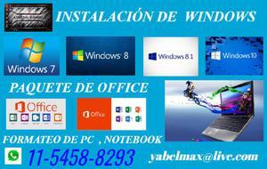 Instalacion de sistema operativo, formateo de pc, notebook