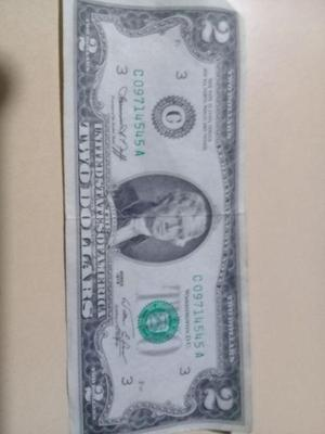 Billete de 2 dolar de coleccion estadounidense