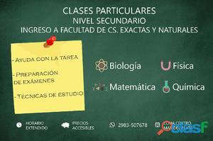 Clases particulares de química, biología, física y matemática