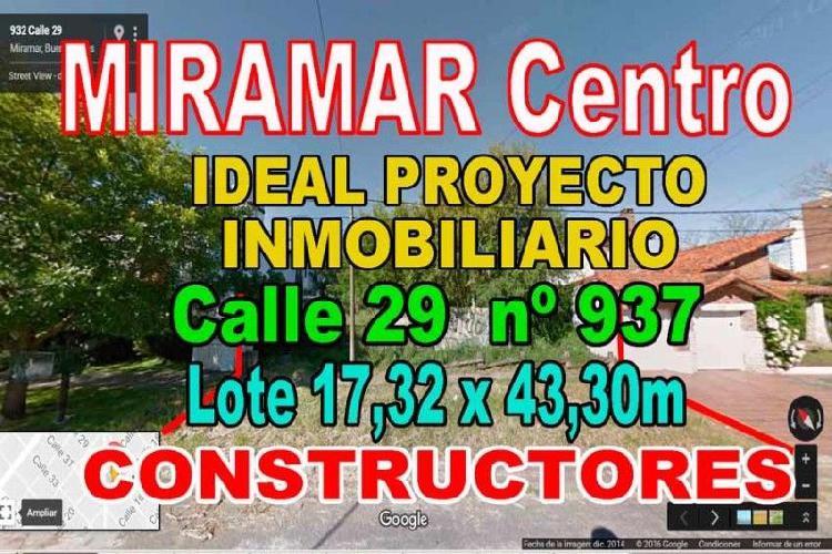 Miramar centro terreno calle 29 nº937 son 750 m2 lote