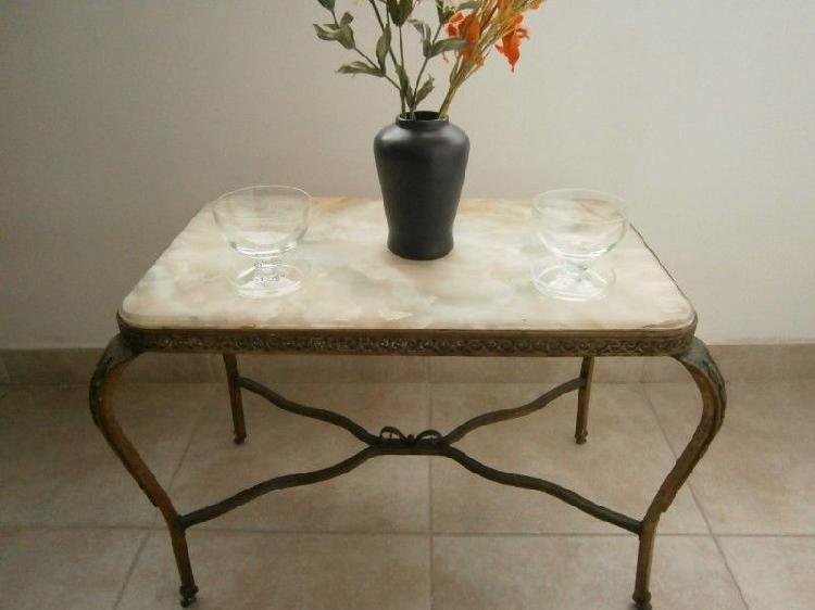 Mesa luis xv xvi ratona antigua de marmol y bronce envíos