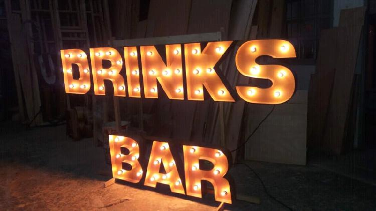 Letras luminosas bar - drinks eventos barra se tragos