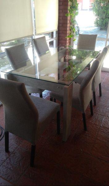 Mesa de comedor vidrio y madera 1,80 x 0,90 y 6 sillas en Argentina ...