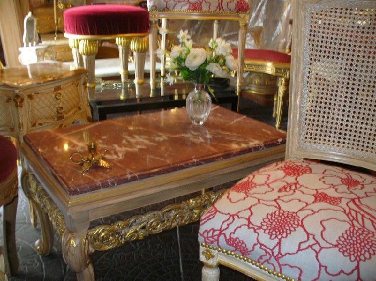 Mesa ratona antigua marmol rojo mesa barroca luis xvi con 2