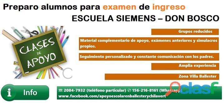 Clases de preparación para examen de ingreso a la escuela siemens