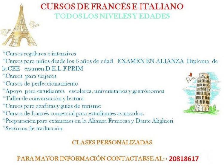 Enseñanza de francés-italiano para todas las edades y
