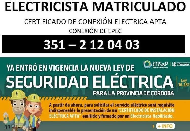 Certificado de instalación apta por electricista