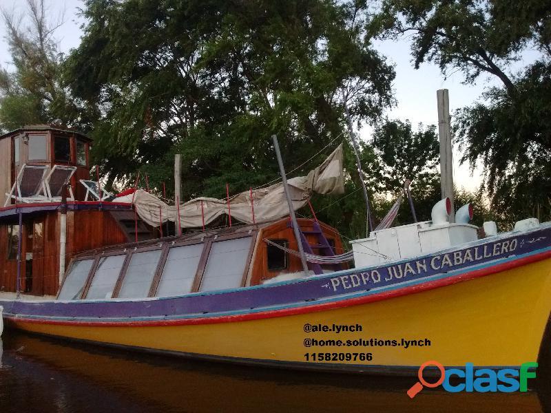 Barco crucero chata isleña 14m restaurada perkins 6