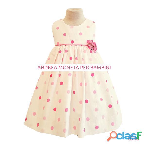 1040 vestido de pique de algodon con lunares rosa pink dots formal dress for baby