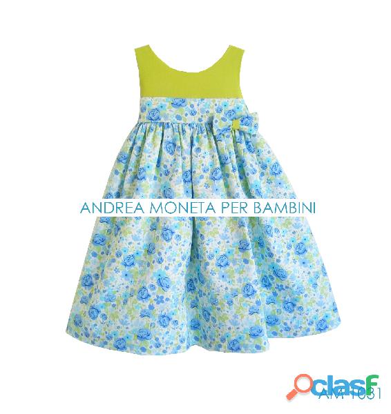VESTIDO DE FIESTA PARA BEBE 1031 hermoso vestido floreado azul verde andrea moneta floral blue and g