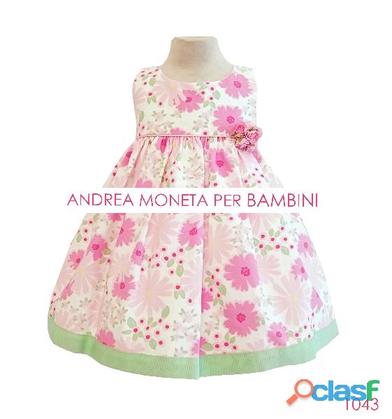 VESTIDO PARA BEBE 1043 Vestido algodón floreado blanco rosa para bebe Cotton Floral Baby Dress White