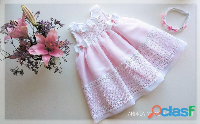Vestidos de bautismo para bebes fiesta 1055 soñado vestido blanco rosa broderie bordado bebe dreamy