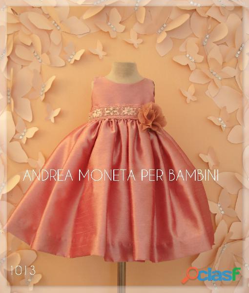 Vestidos de fiesta para bebes 1013 bello vestido rosa viejo bordado plata andrea moneta
