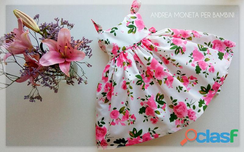 VESTIDOS PARA BEBES 033 Vestido floreado rosa bebe niña andrea moneta pink floral dress