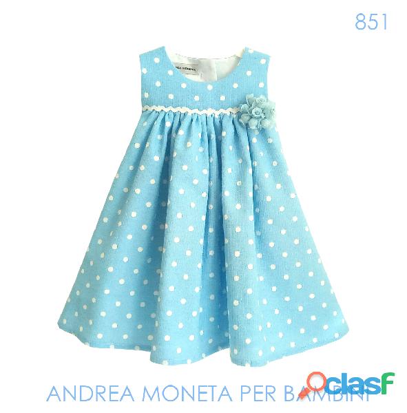 VESTIDOS PARA NENA ARGENTINA 851 Vestido Azul Pique de Algodón Blue Dress with Dots