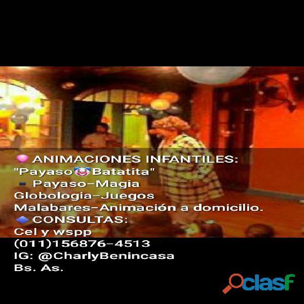 Animacion de fiestas infantiles con payaso en c.a.b.a.
