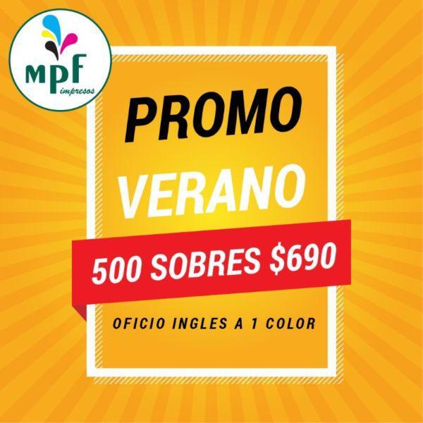 Sobres Oficio Inglés Impresos 1 Color Caja X 500 12x23,5 cm
