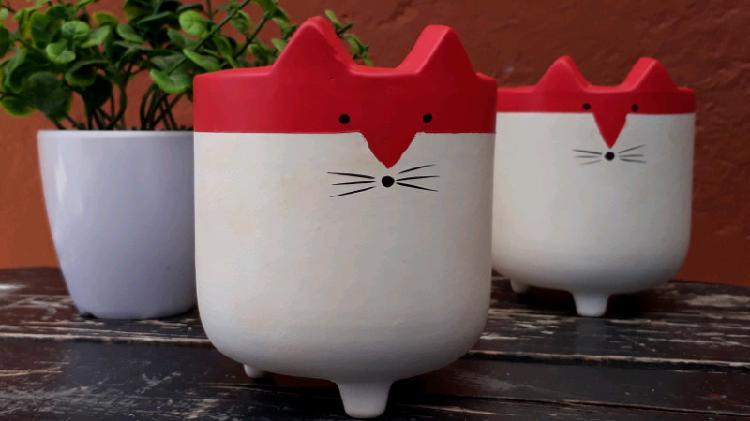 Velas en portavela de cerámica gato