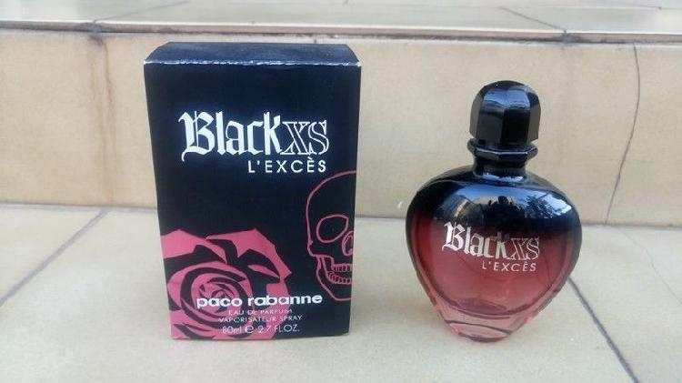 Frasco vacio de perfume mujer black xs - 80 ml- en caja