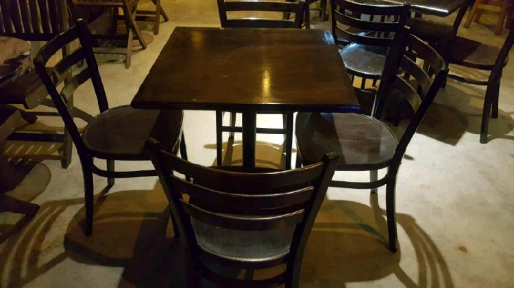 Modulos mesa y 4 sillas thonet madera laqueada impecables