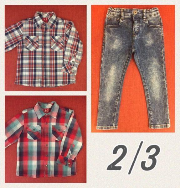 1 jean zara y 2 camisas grisino talle 2/3 años