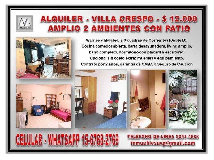 Alquiler villa crespo, amplio 2 ambientes con patio