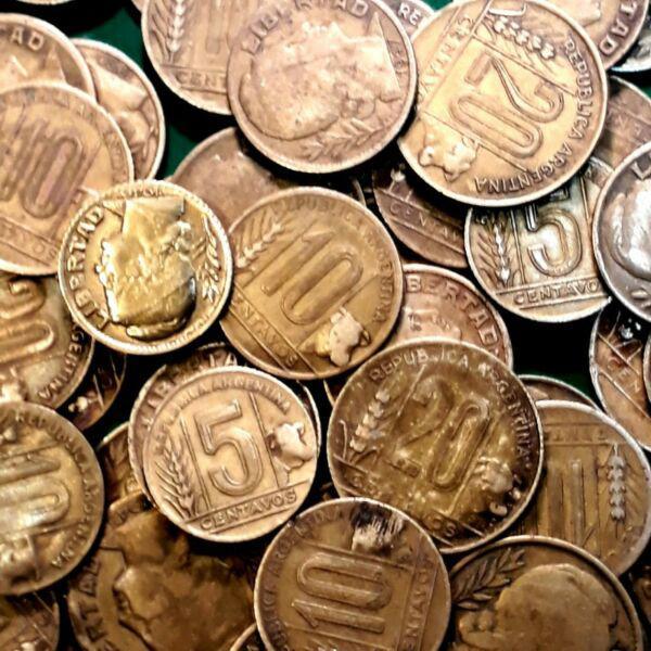 Monedas argentinas torito 1942/1950 bronce aluminio