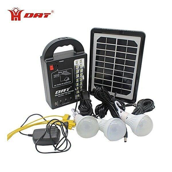 Kit solar portátil panel lamparas led linterna cargador usb