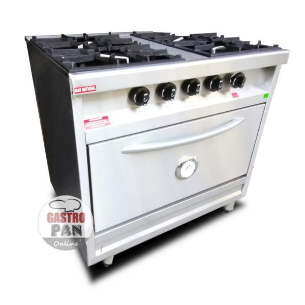 Cocina industrial 84 cm de ancho cuatro hornallas horno