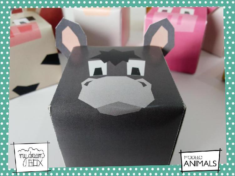 Cajas zoo animales burro z1 evento personalizado cumple