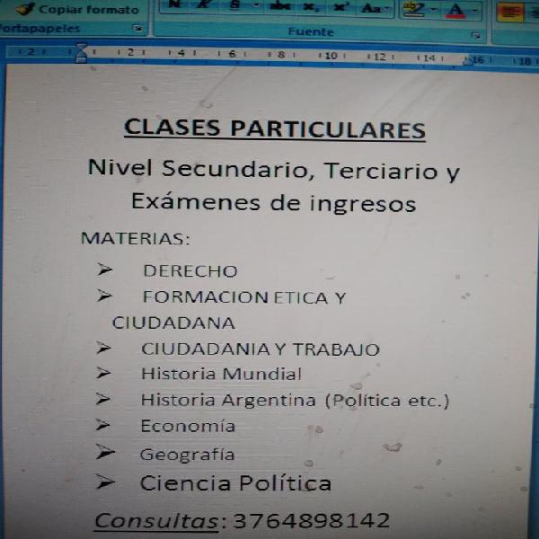 Clases particulares: ciencias sociales: secundario y