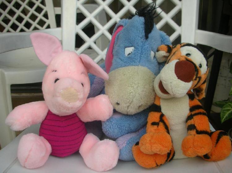 Vintage:3 muñecos amigos winnie de pooh: burro,puerquito y