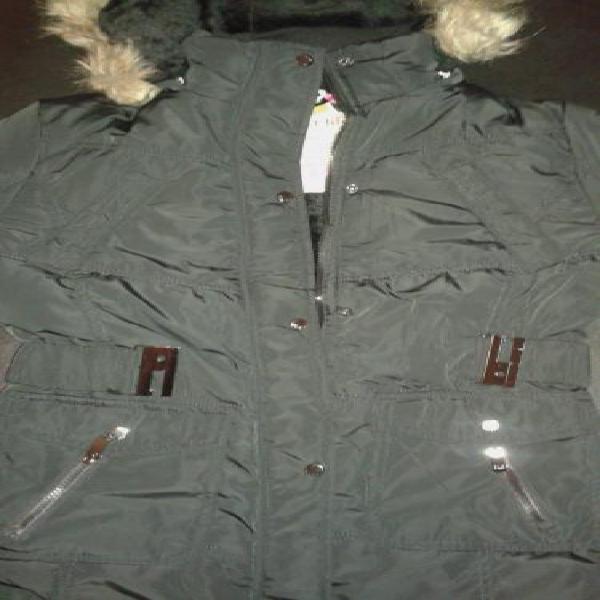 Campera skr life mujer abrigo c/capucha y piel desm.