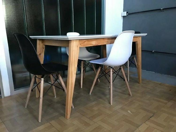 Mesa comedor estilo escandinavo nordico laqueada