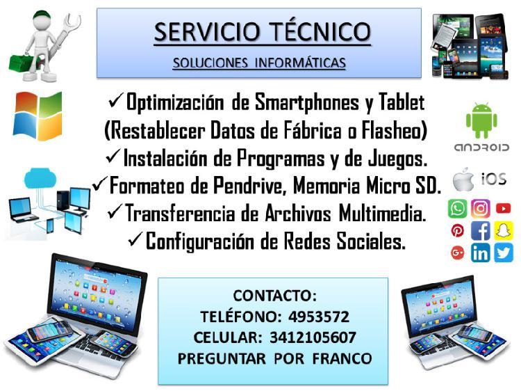 Soporte técnico en celulares y dispositivos (a domicilio).