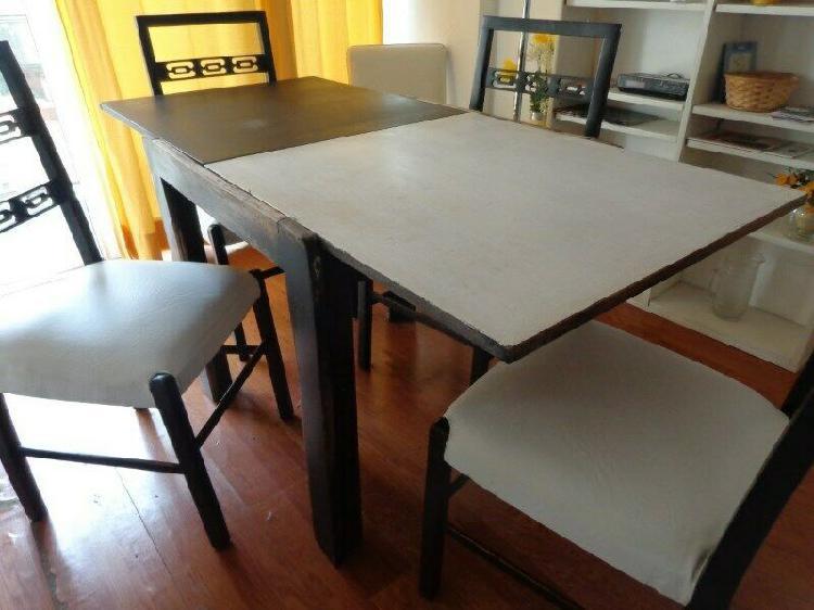 Mesa de cedro extensible y sillas canadienses living comedor