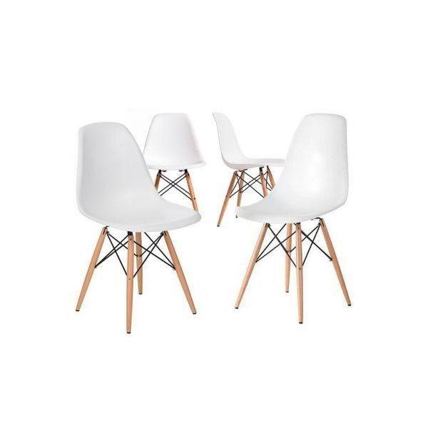 Sillas eames x 4 blancas con patas de madera - recoleta