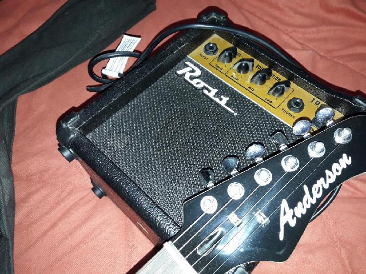 Guitarra electrica stratocaster anderson amplificador funda