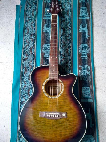 Guitarra electroacustica tenson con funda