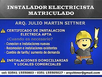 Electricista matriculado - certificado de instalacion